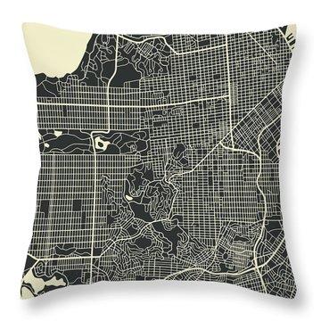 San Francisco Map 3 Throw Pillow