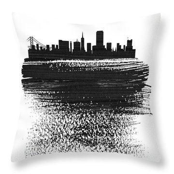 San Francisco Skyline Brush Stroke Black Throw Pillow
