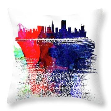 San Francisco Skyline Brush Stroke Watercolor   Throw Pillow