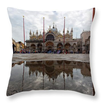 Throw Pillow featuring the photograph San Marco Cathedral Venice Italy by Nathan Bush
