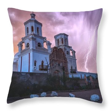 San Xavier Mission Lightning Throw Pillow