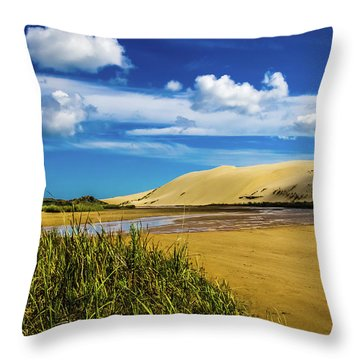 90 Miles Beach, New Zealand Throw Pillow