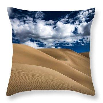 Sand Dunes Under A Blue Sky Throw Pillow