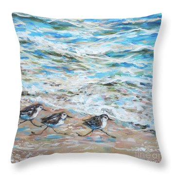 Sanderlings Running Throw Pillow