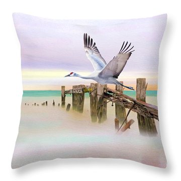 Sandhill Crane And Old Dock Throw Pillow