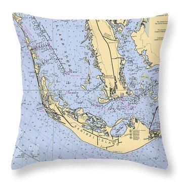 Sanibel And Captiva Islands Nautical Chart Throw Pillow