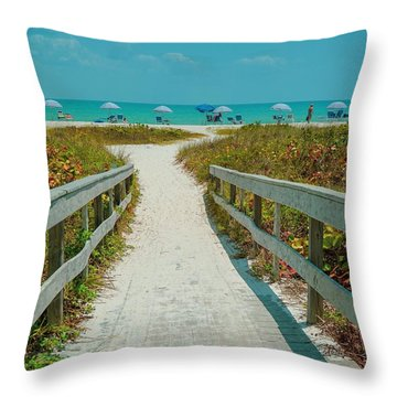 Sanibel Beach Umbrellas Throw Pillow