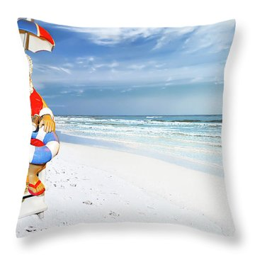 Santa Lifeguard Throw Pillow