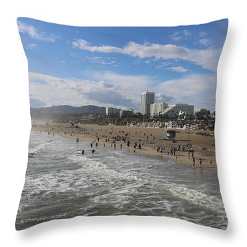 Santa Monica Beach , Santa Monica, California Throw Pillow