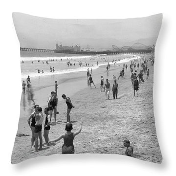 Santa Monica Beach Circa 1920 Throw Pillow