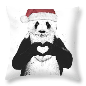 Santa Panda Throw Pillow