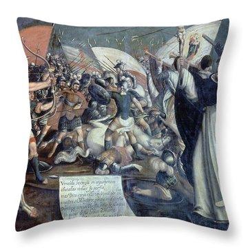 Santo Domingo In The Battle Of Monforte - 1650. Figueroa Baltasar. Throw Pillow