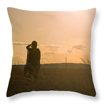 Throw Pillow featuring the photograph Sarah In Sunlight by Carl Young
