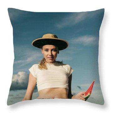 Sasha With Watermelon Throw Pillow