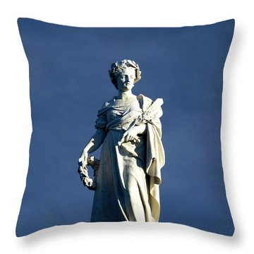 Satatue At Sunset Throw Pillow