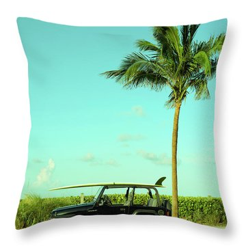 Saturday Surfer Jeep Throw Pillow