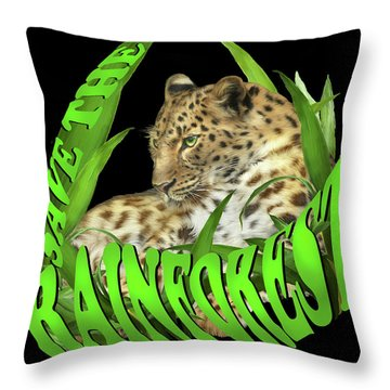 Save The Rainforest Throw Pillow