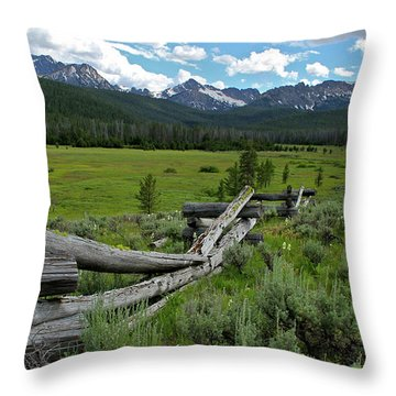 Sawtooth Range And 1975 Pole Fence Throw Pillow