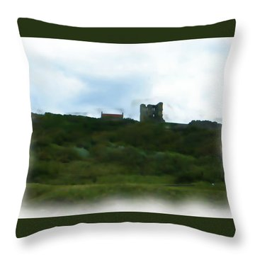 Scarborough Castle Painting Throw Pillow