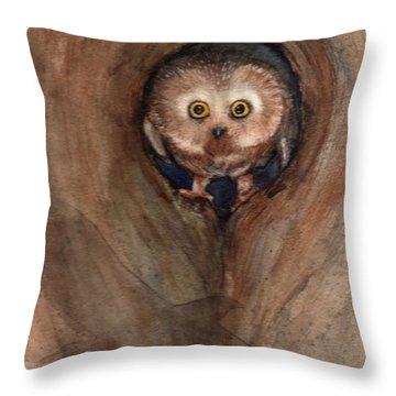 Scardy Owl Throw Pillow