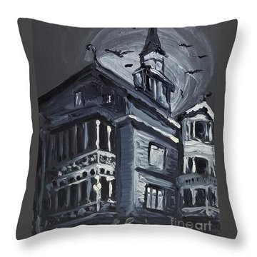 Scary Old House Throw Pillow