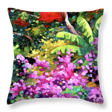 Scene With Bougainvillea Square Throw Pillow