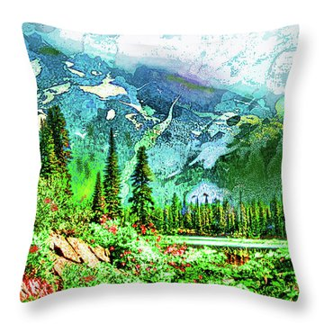 Throw Pillow featuring the digital art Scenic Mountain Lake by James Fannin
