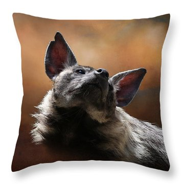 Throw Pillow featuring the photograph Scenting The Air - Striped Hyena by Debi Dalio