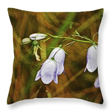 Scotland. Loch Rannoch. Harebells In The Grass. Throw Pillow