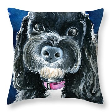 Scout - Cavoodle Dog Painting Throw Pillow