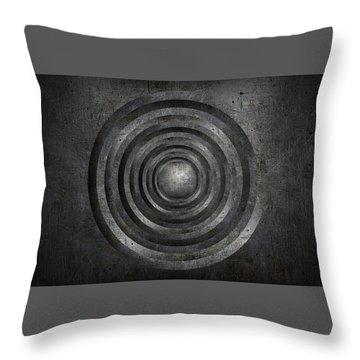 Scratched Metal Circles Throw Pillow