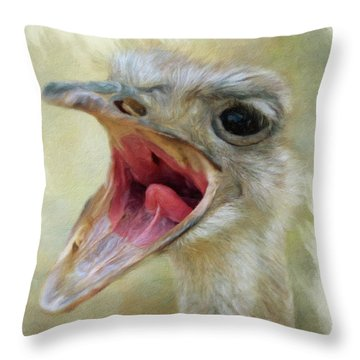 Screaming Ostrich Throw Pillow
