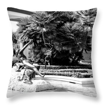 Sculpture Getty Villa Black White  Throw Pillow
