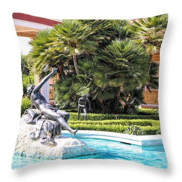 Sculptured Pool Side Getty Villa Throw Pillow
