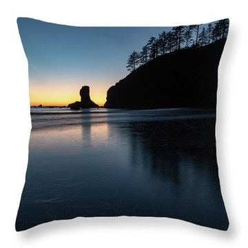 Sea Stack Silhouette Throw Pillow