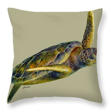 Sea Turtle 2 - Solid Background Throw Pillow