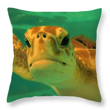 Sea Turtle Off The Mexican Coast - Dwp2086549 Throw Pillow