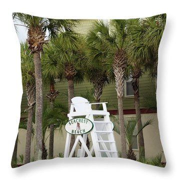 Seacrest Lifeguard Chair Throw Pillow
