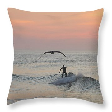 Seagull And A Surfer Throw Pillow