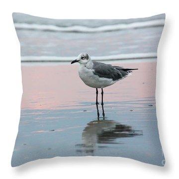 Seagull At Ocean Shoreline Throw Pillow