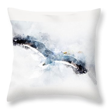 Seagull In Flight With Watercolor Effects Throw Pillow