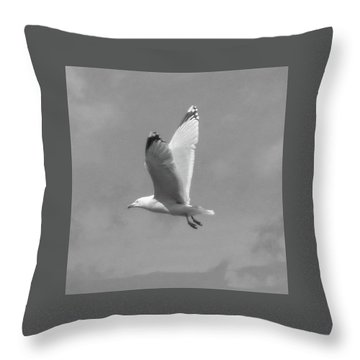 Seagull Over Llandudno Throw Pillow