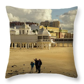 Throw Pillow featuring the photograph Seagulls At Caleta Beach Cadiz Spain by Pablo Avanzini