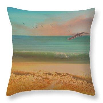 Seagulls Gather At Dusk Throw Pillow