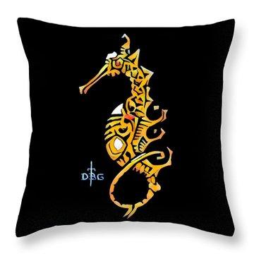 Seahorse Golden Throw Pillow