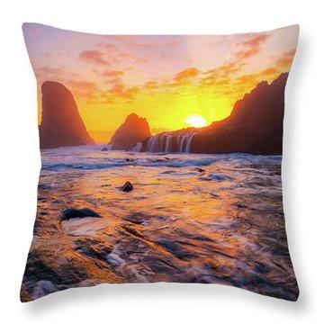 Seal Rock Beach Sunset Throw Pillow