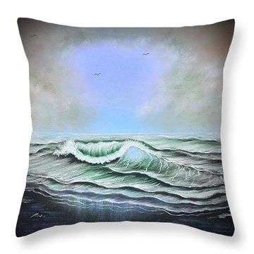 Seascape Enchantment Glow Blue Throw Pillow