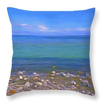 Throw Pillow featuring the mixed media Season Of Blue Water 4  by Lynda Lehmann