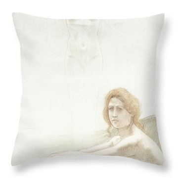 Seated Female Nude With Ghostly Female Figure In The Background, 1897 Throw Pillow
