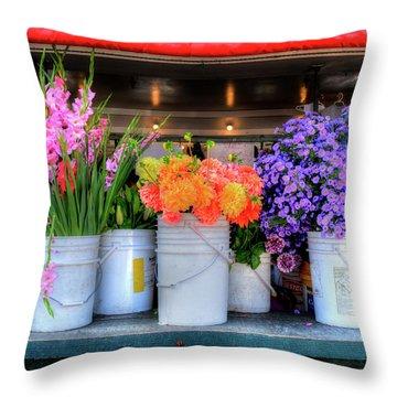 Seattle Flower Market Throw Pillow